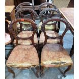 Lot 239 - A set of six Victorian walnut salon chairs on French cabriole legs. In need of re-upholstering