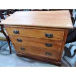 Lot 247 - An Edwardian VII satinwood chest of three long drawers, 36' wide