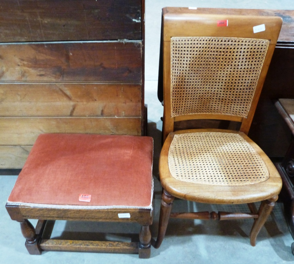 Lot 250 - A caned chair and a stool