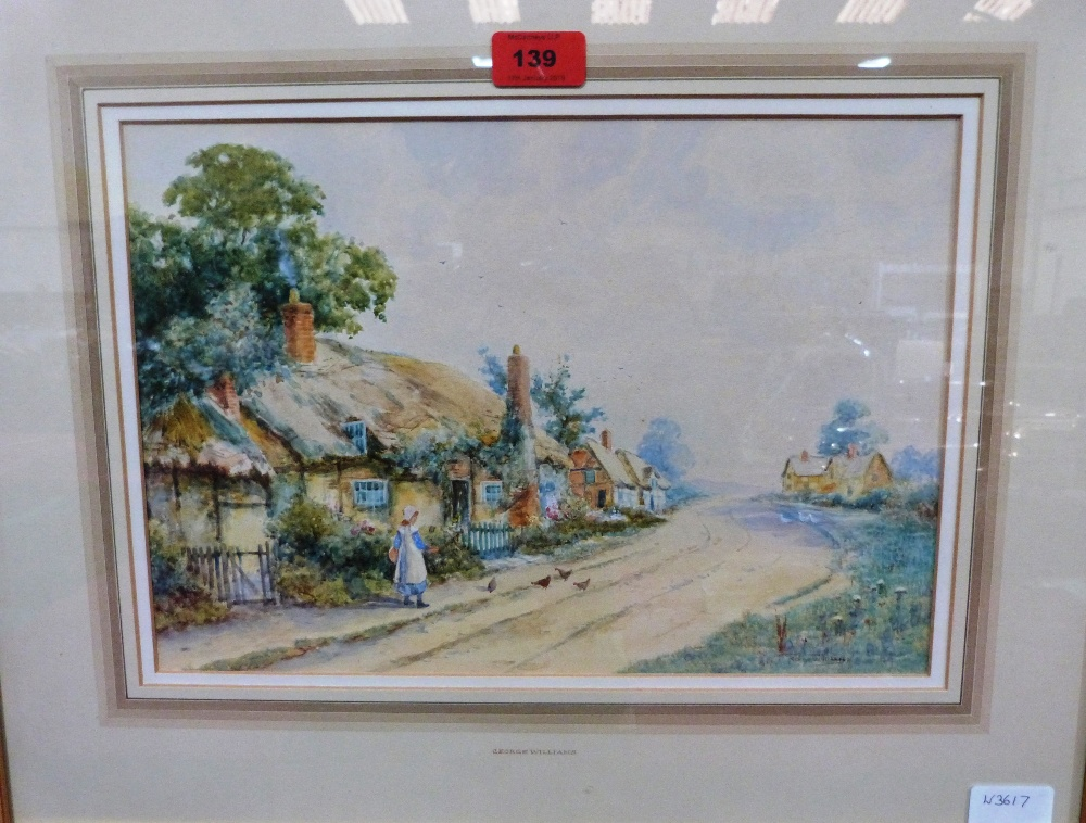 Lot 139 - GEORGE WILLIAMS. BRITISH 20TH CENTURY. Village scene with figure. Signed. Watercolour. 9 1/2' x 14'