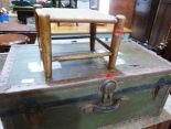 Lot 241 - A cabin trunk and an elm stool