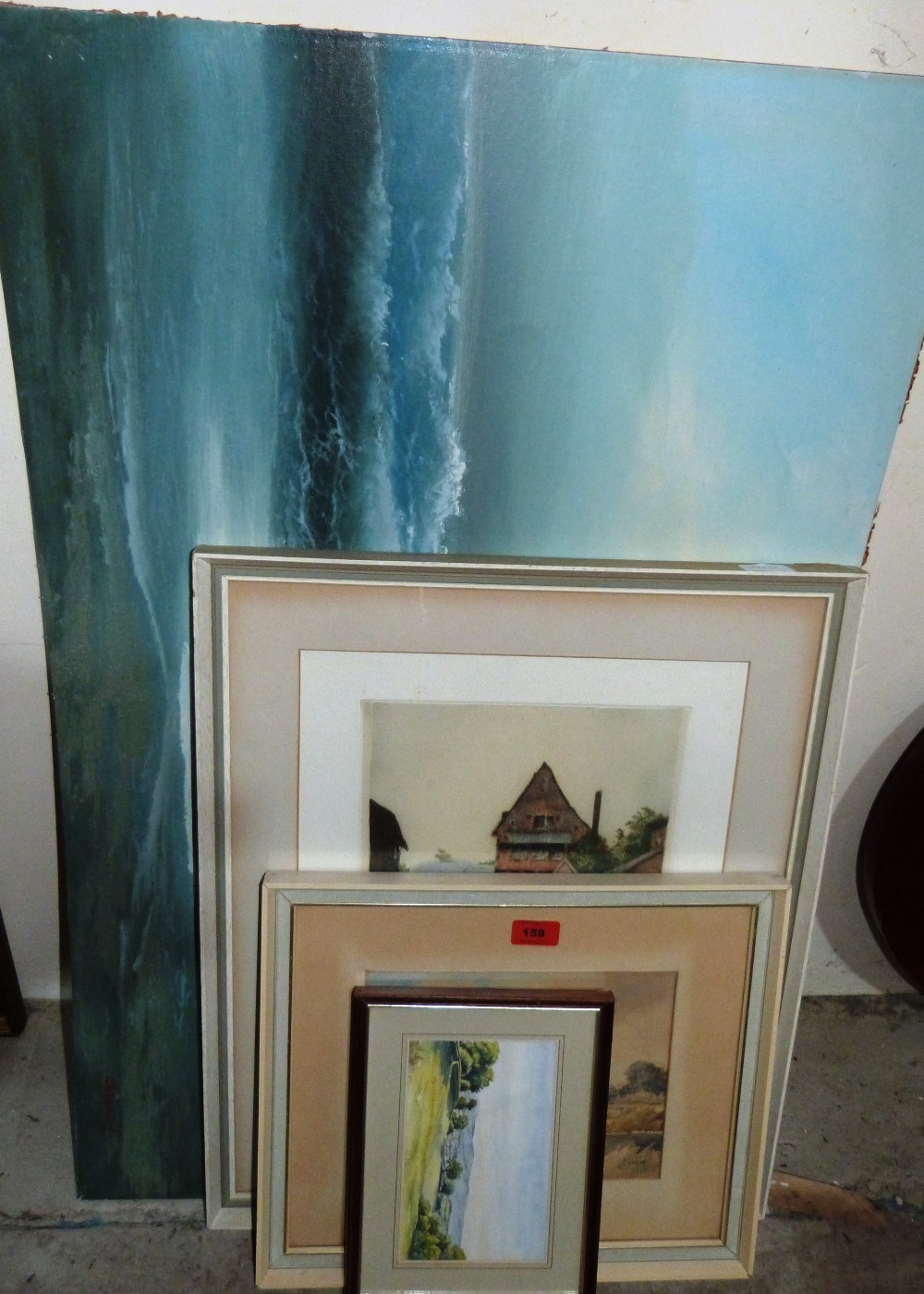 Lot 159 - A signed Tatton-Winter etching, an unframed oil and two watercolours