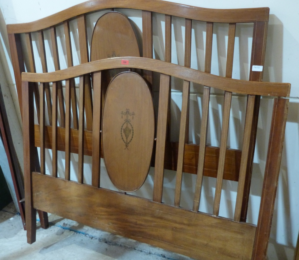 Lot 199 - An Edward VII 4'6' mahogany and inlaid bedstead