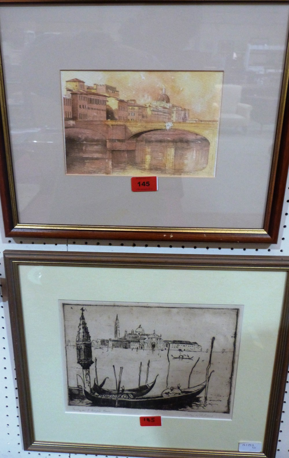 Lot 145 - A watercolour of Florence signed Piraino, 5 1/2' x 8 1/2' and an etching of Venice signed Milan