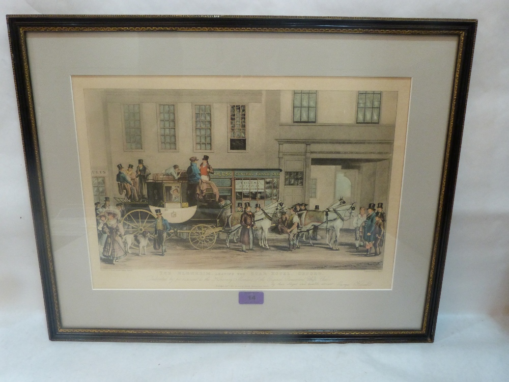Lot 14 - G. HAVELL/FJ. HAVELL. BRITISH 19TH CENTURY A coaching engraving. The Blenheim leaving the Star Hotel