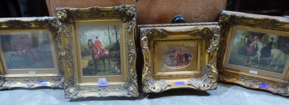 Lot 28 - Four heavy gilt framed hunting oleographs