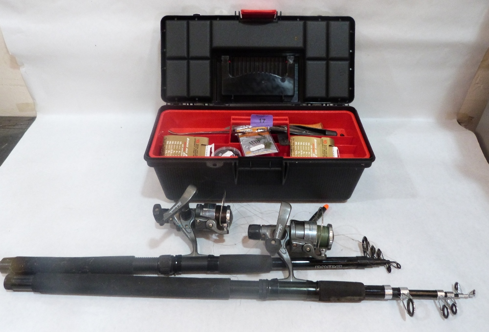 Lot 17 - Two extending fishing rods and reels and a box of tack