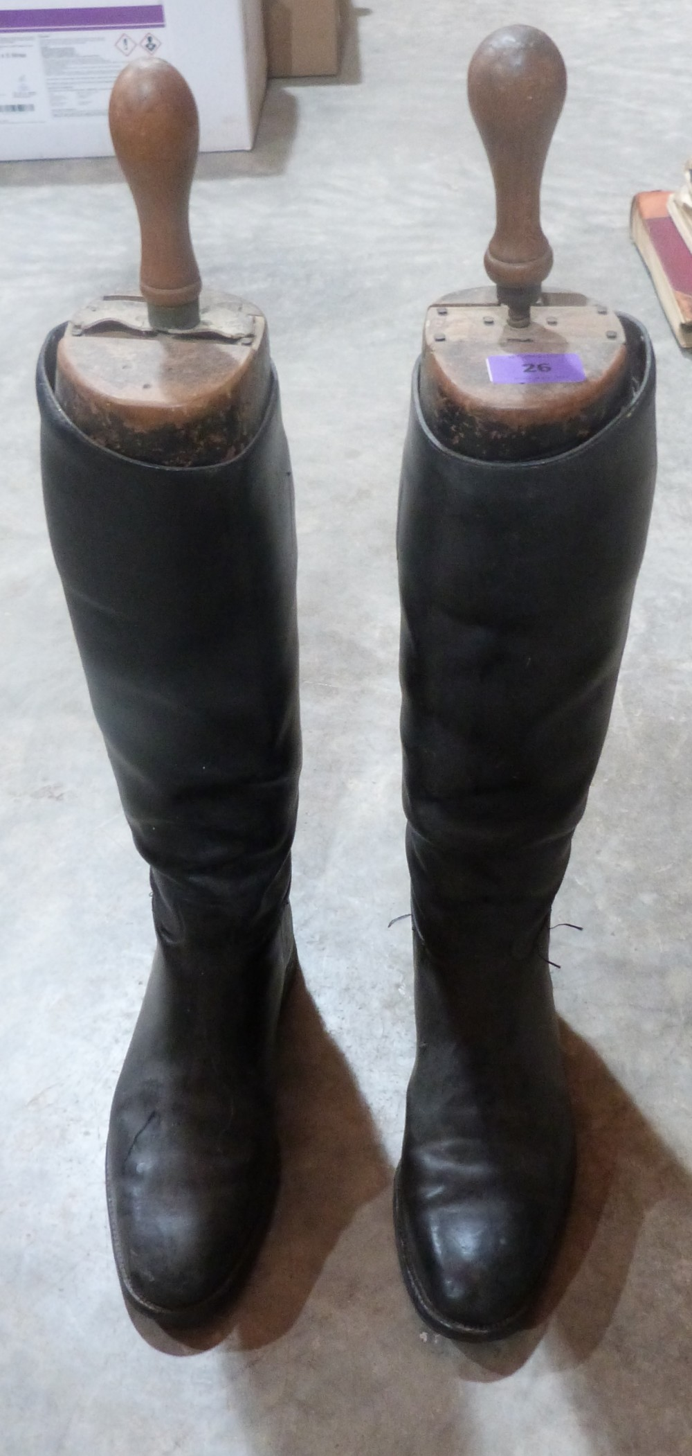 Lot 26 - A pair of gentleman's leather riding boots with trees