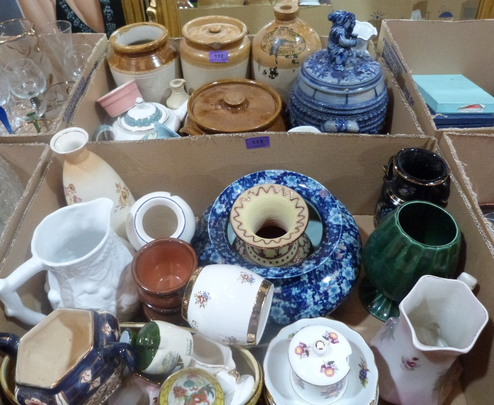 Lot 112 - Two boxes of stoneware and other ceramics