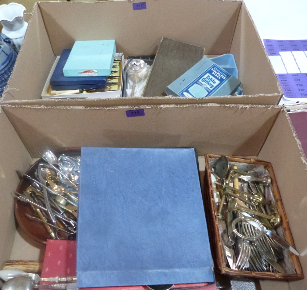 Lot 113 - Two boxes of plated cutlery