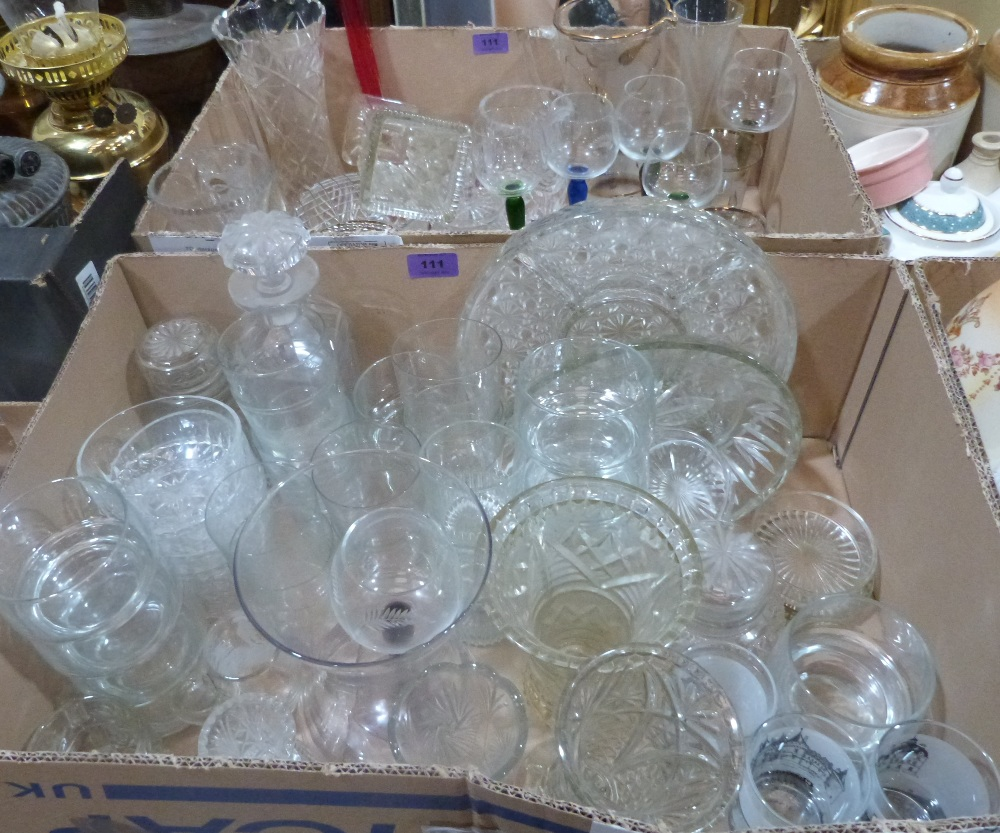 Lot 111 - Two boxes of glassware