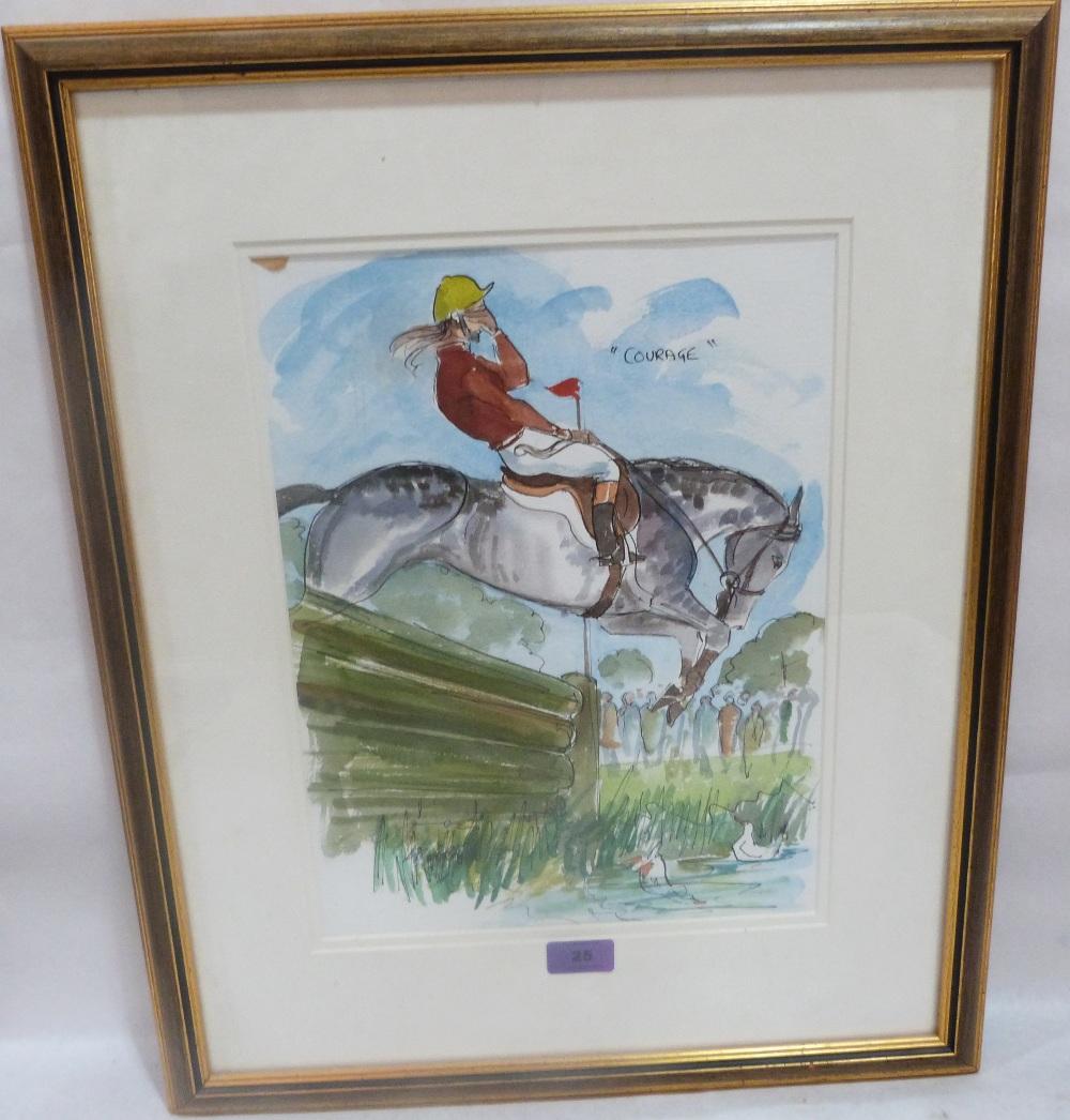 Lot 25 - MARK HUSKINSON. BRITISH 20th CENTURY A humorous racing cartoon 'Courage'. Incribed. Watercolour.
