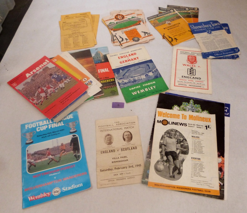 Lot 5 - A collection of football programmes, viz: England Internationals 1945, 1954, 1955; Wolves FC 1946-