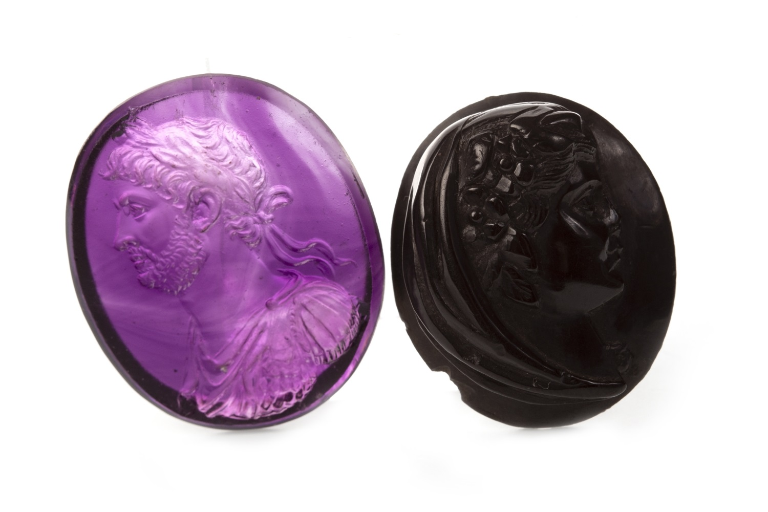 Lot 61 - TWO CARVED CAMEOS