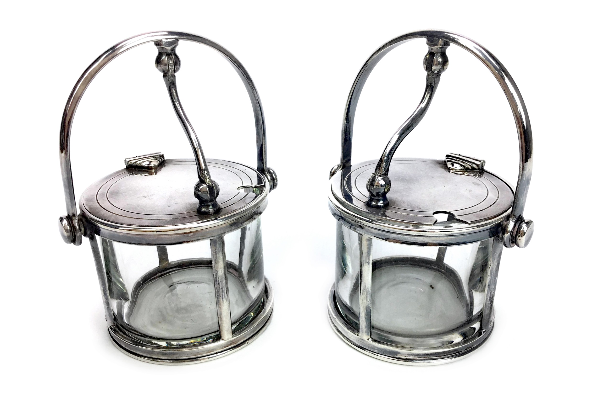 Lot 804 - A PAIR OF GLASS MUSTARD POTS WITH MOUNTS BY FELIX FRERES