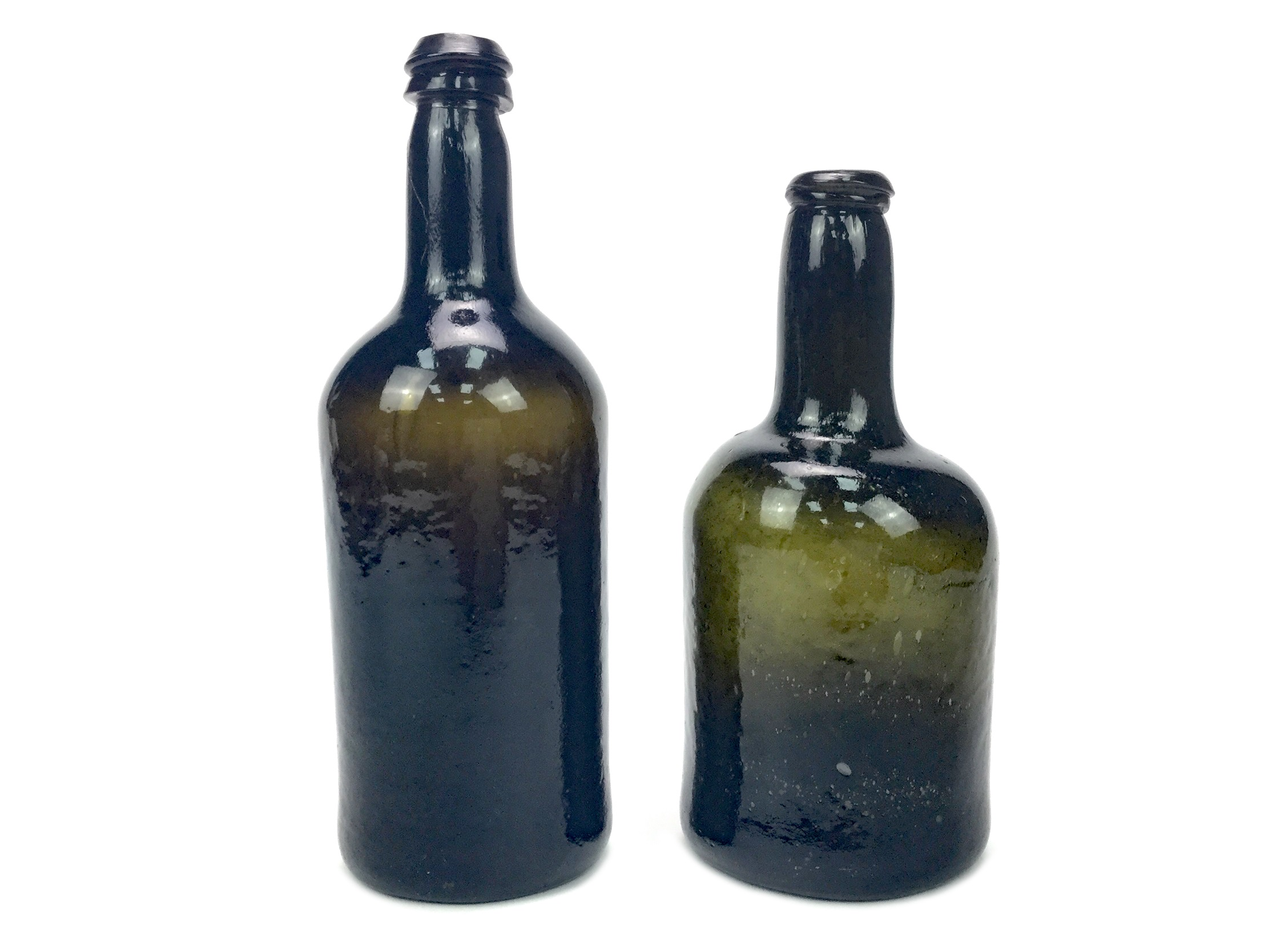 Lot 1251 - A LOT OF TWO 18TH CENTURY GLASS BOTTLE