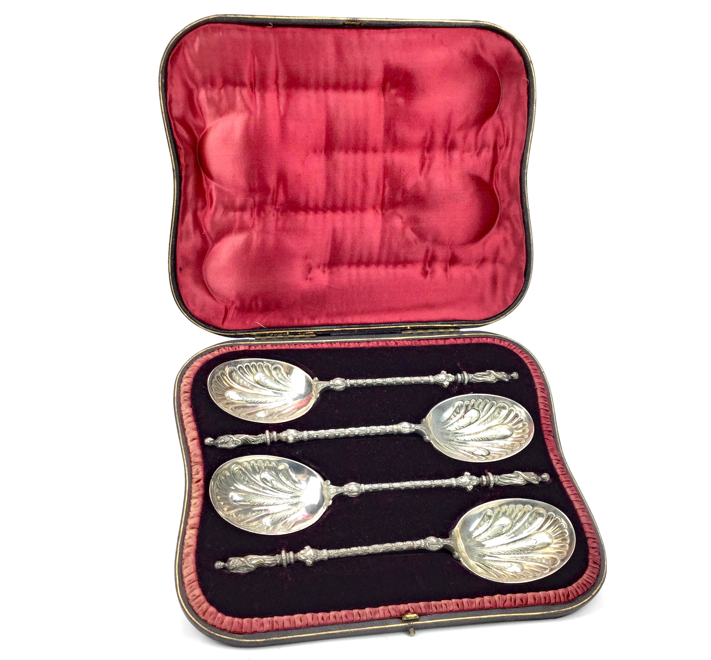 Lot 812 - AN IMPRESSIVE SET OF FOUR VICTORIAN SILVER SERVING SPOONS