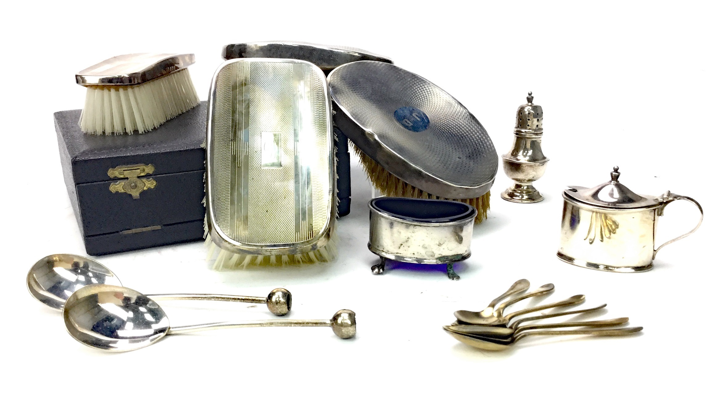 Lot 842 - SILVER BRUSH SET, BRUSHES AND CONDIMENTS