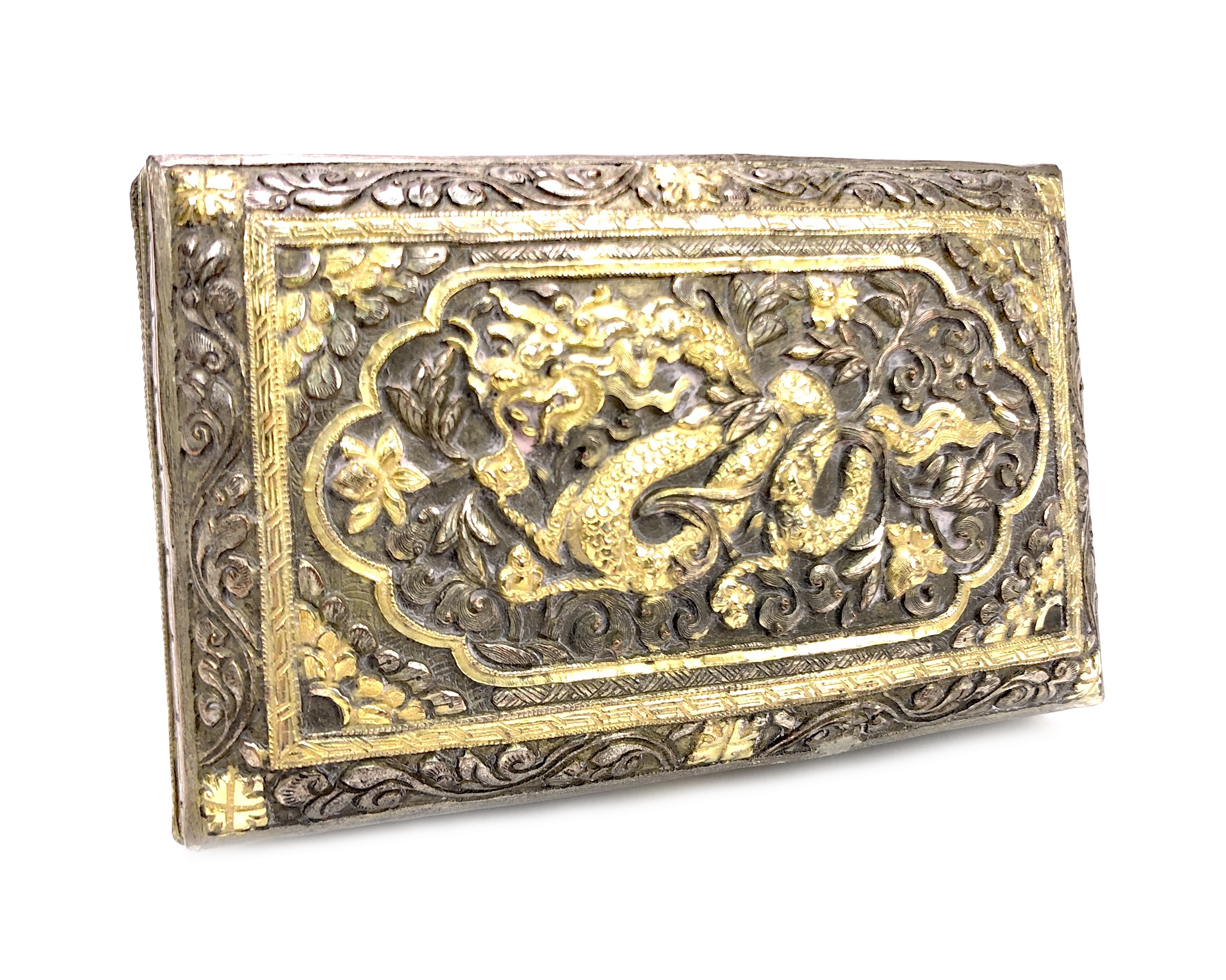 Lot 1027 - A CHINESE WHITE METAL BOX AND A WOOD TRAY
