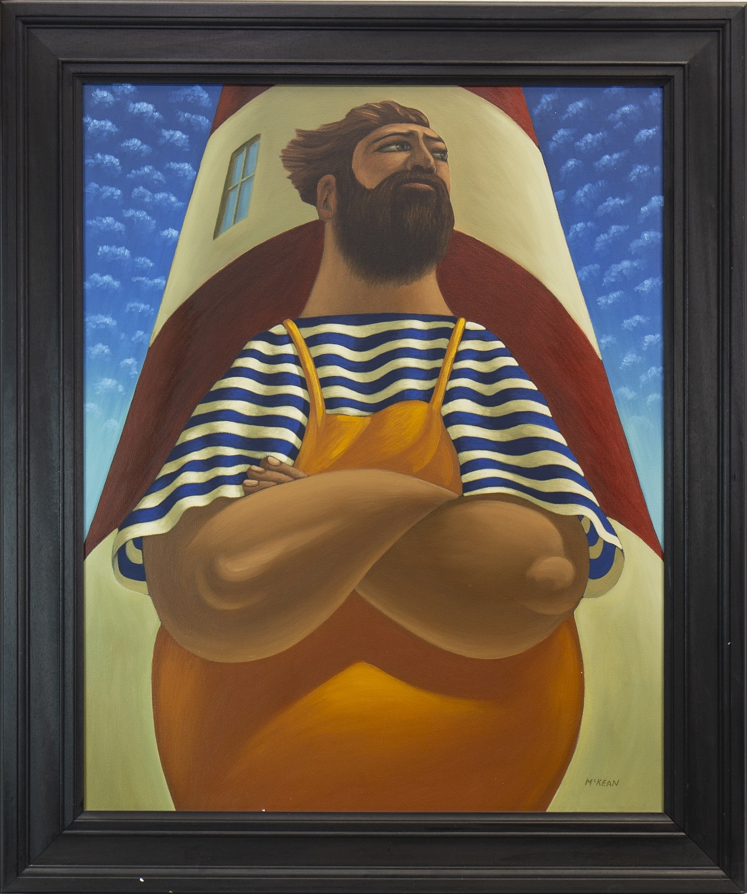 Lot 501 - THE PRESENT DAY JOB OF A LIGHTHOUSE KEEPER, AN OIL BY GRAHAM MCKEAN