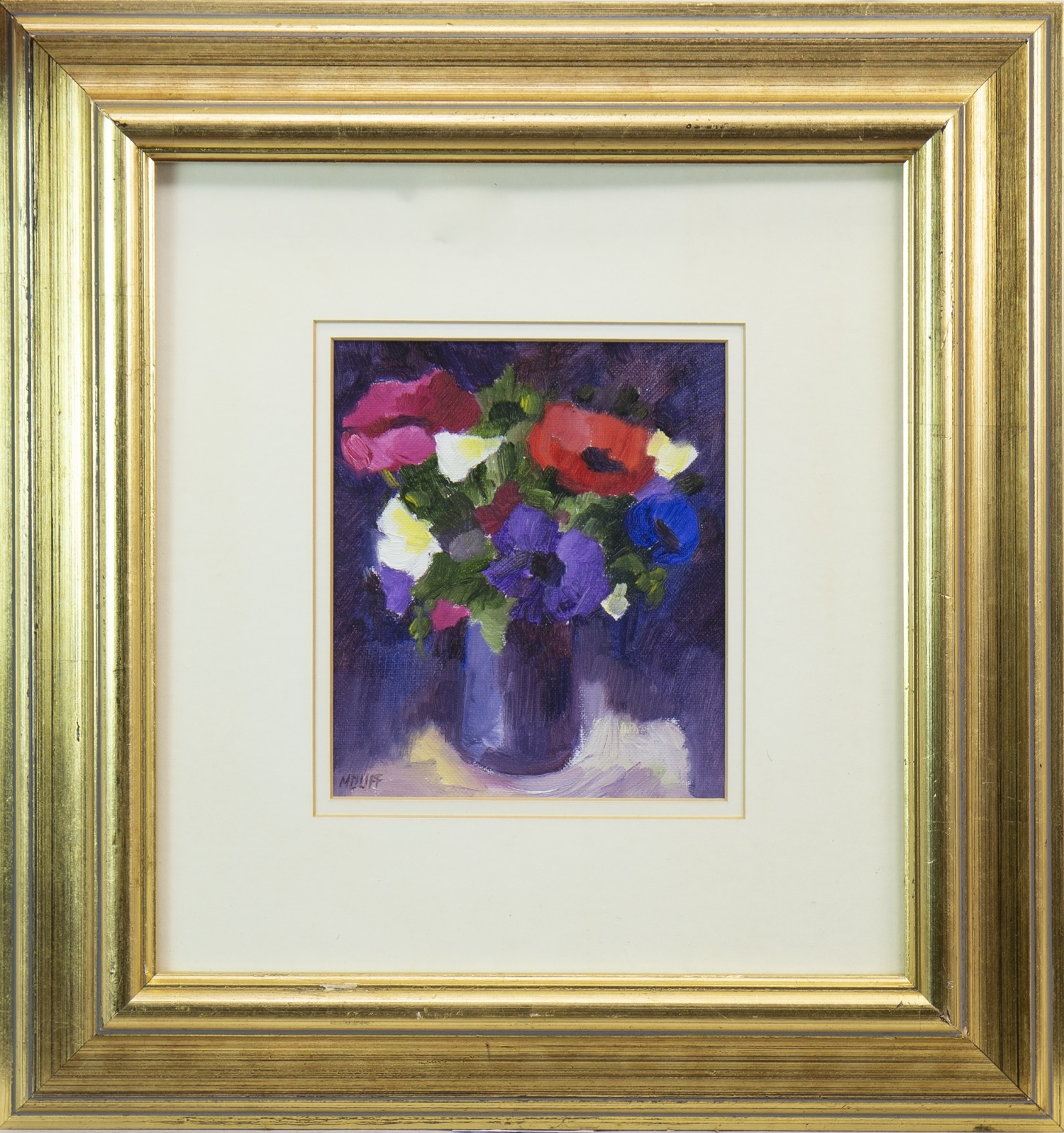 Lot 535 - A PAIR OF FLORAL STILL LIFES, BY MARGARET DUFF