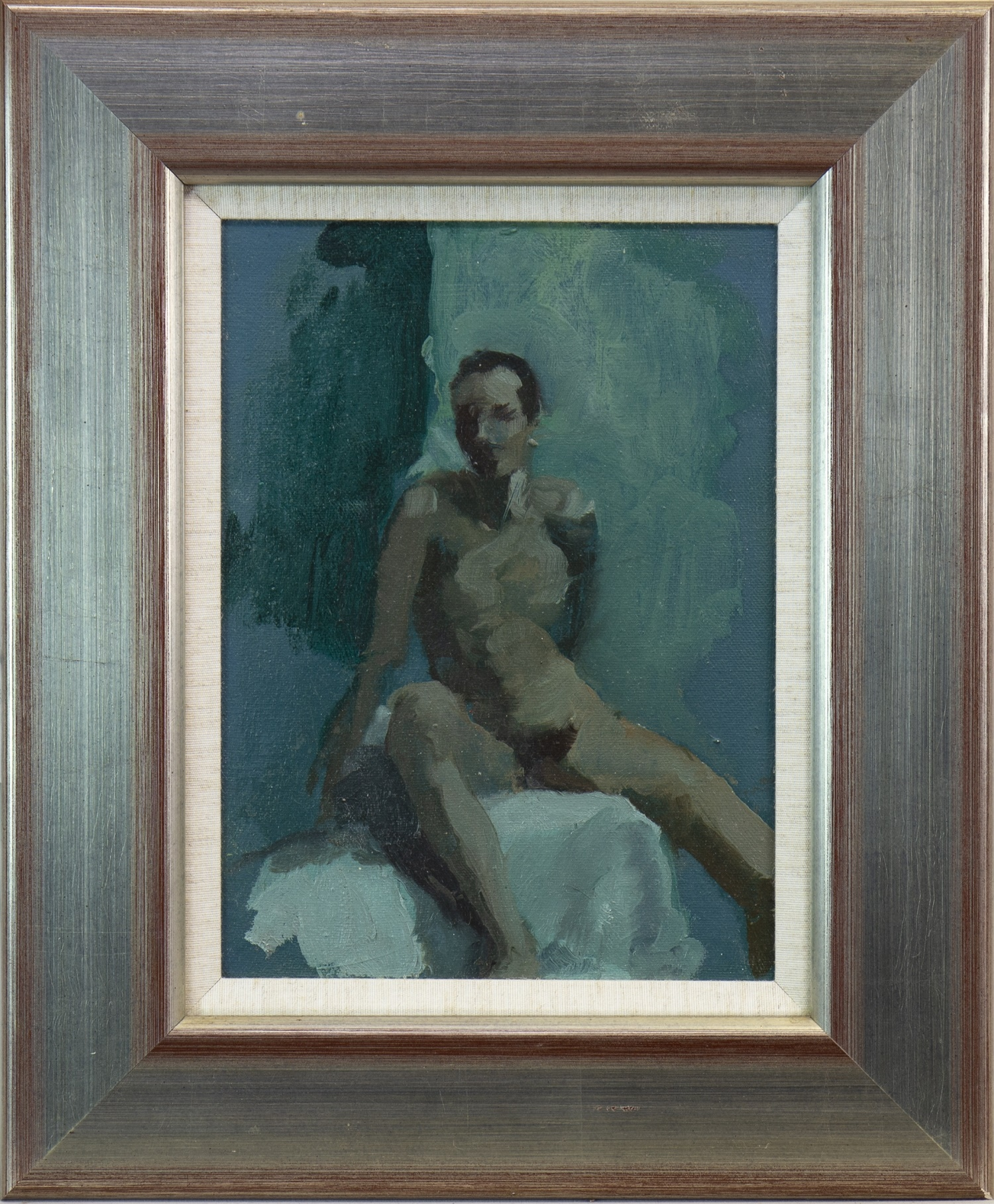 Lot 517 - NUDE STUDY IN BLUE, AN OIL
