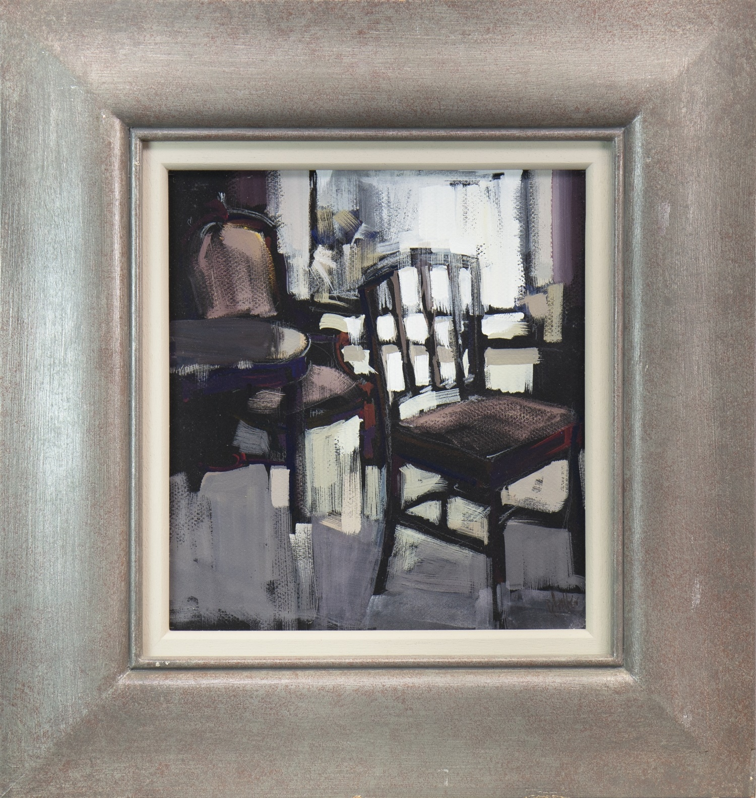 Lot 549 - CHAIRS AND WINDOW SEAT, AN OIL BY ETHEL WALKER