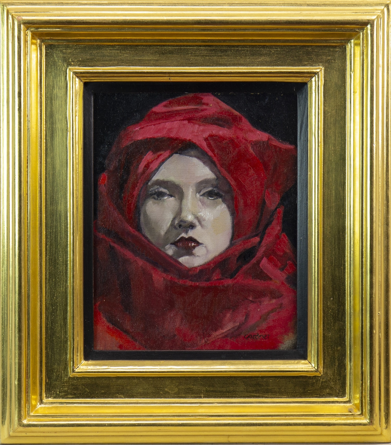 Lot 559 - LADY IN RED, AN OIL BY SANDIE GARDNER