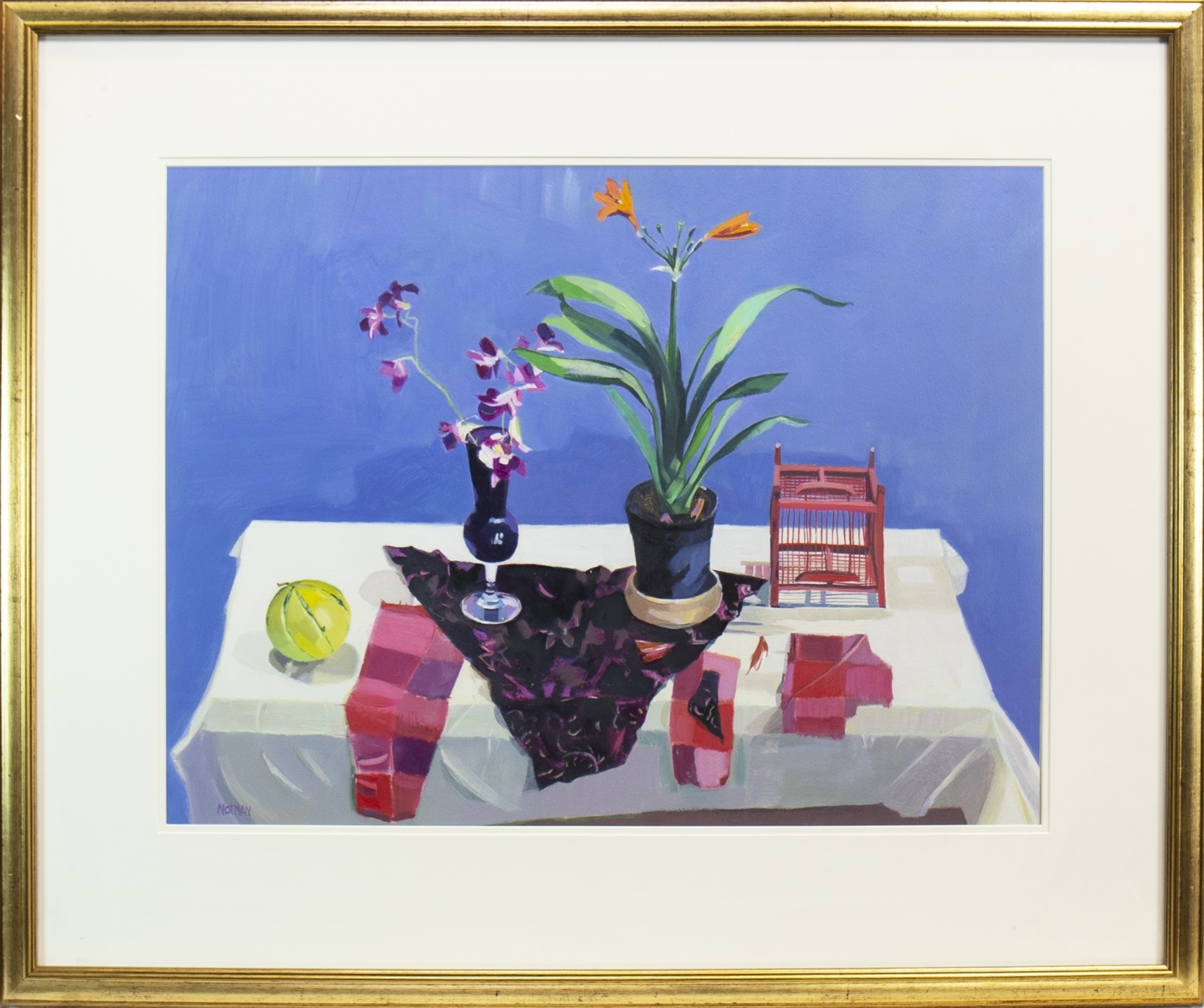 Lot 511 - ORCHIDS AND ORANGE LILY, AN OIL BY MARION NOTMAN