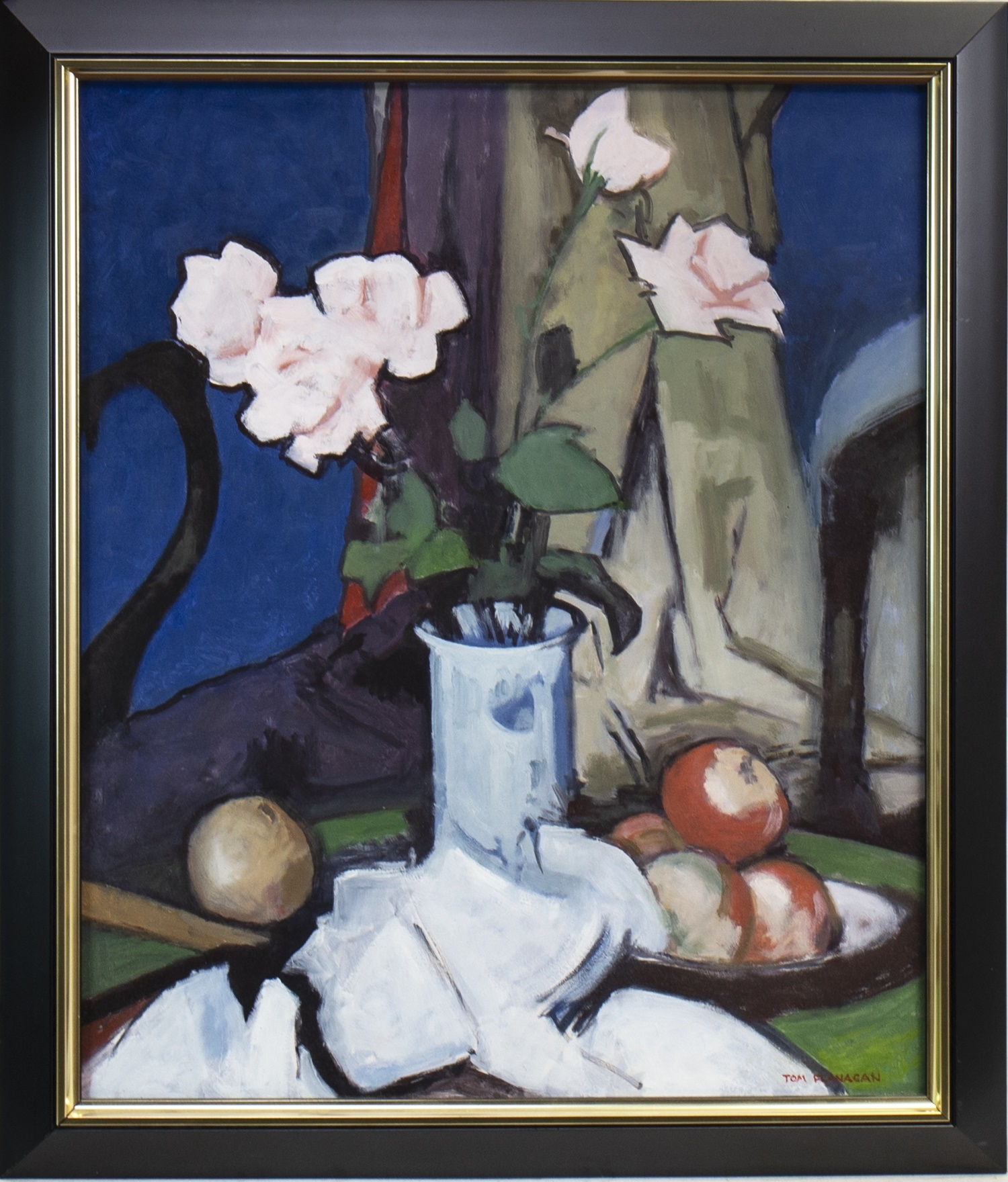 Lot 531 - STILL LIFE WITH PINK ROSES, AN OIL BY TOM FLANAGAN