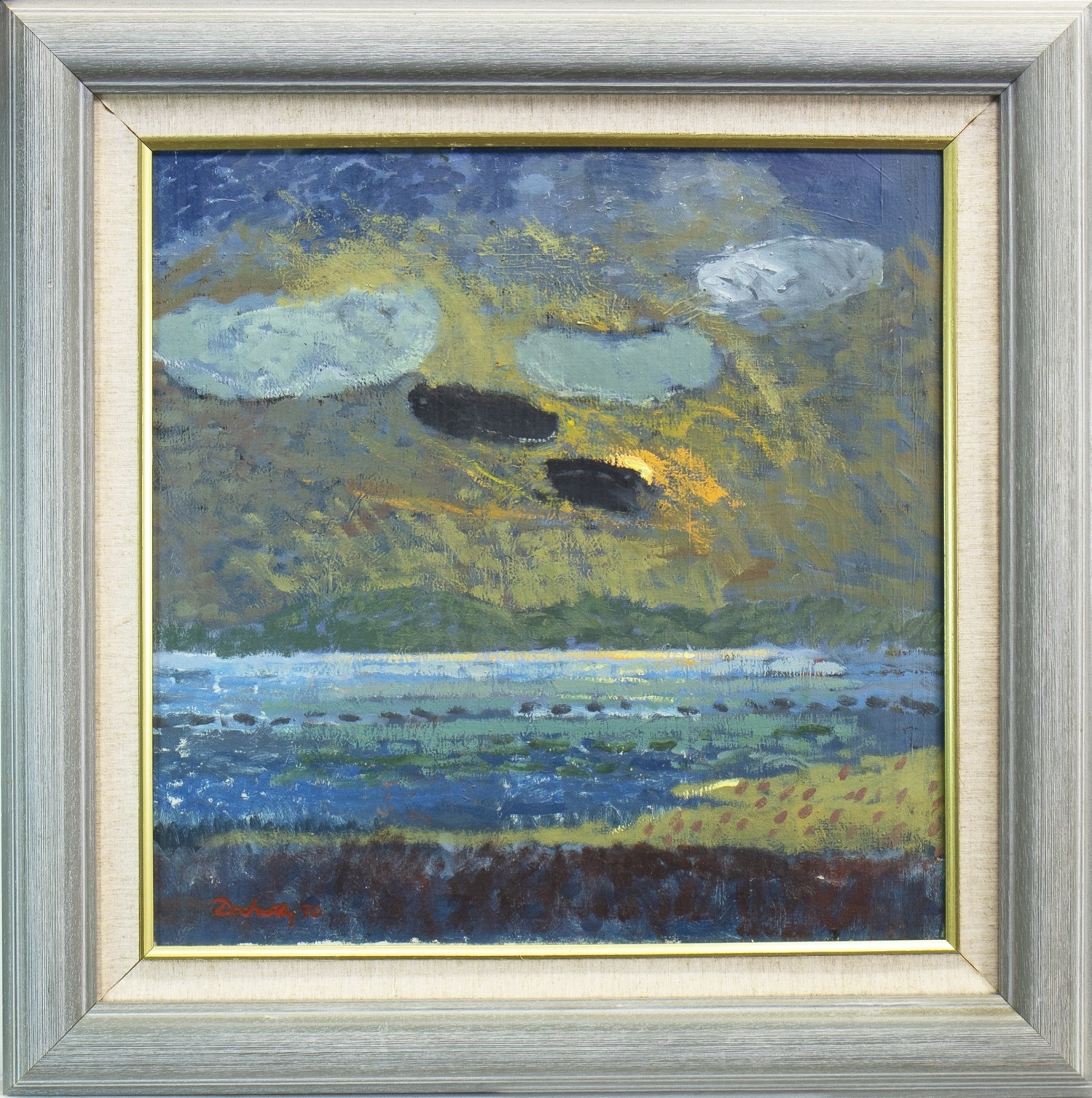 Lot 536 - BLACK CLOUDS, GLENDIG, AN OIL BY FRANK DOCHERTY