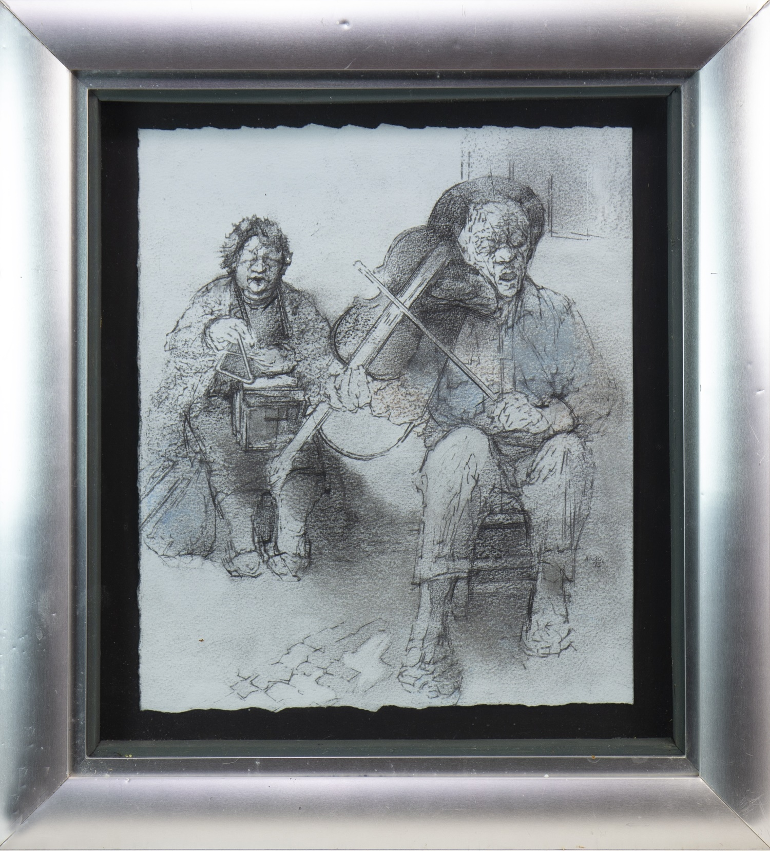Lot 533 - BLIND MUSICIANS, FADO SINGERS, A MIXED MEDIA BY ANDA PATERSON