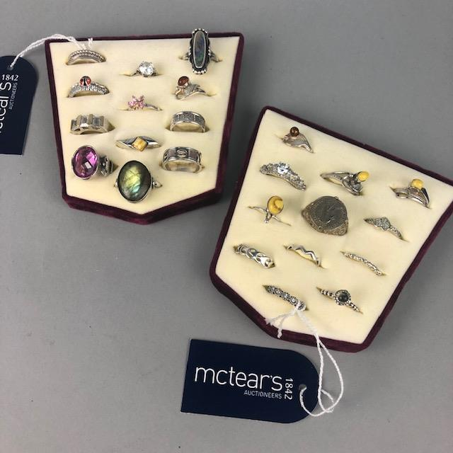 Lot 10 - A LOT OF SILVER DRESS RINGS