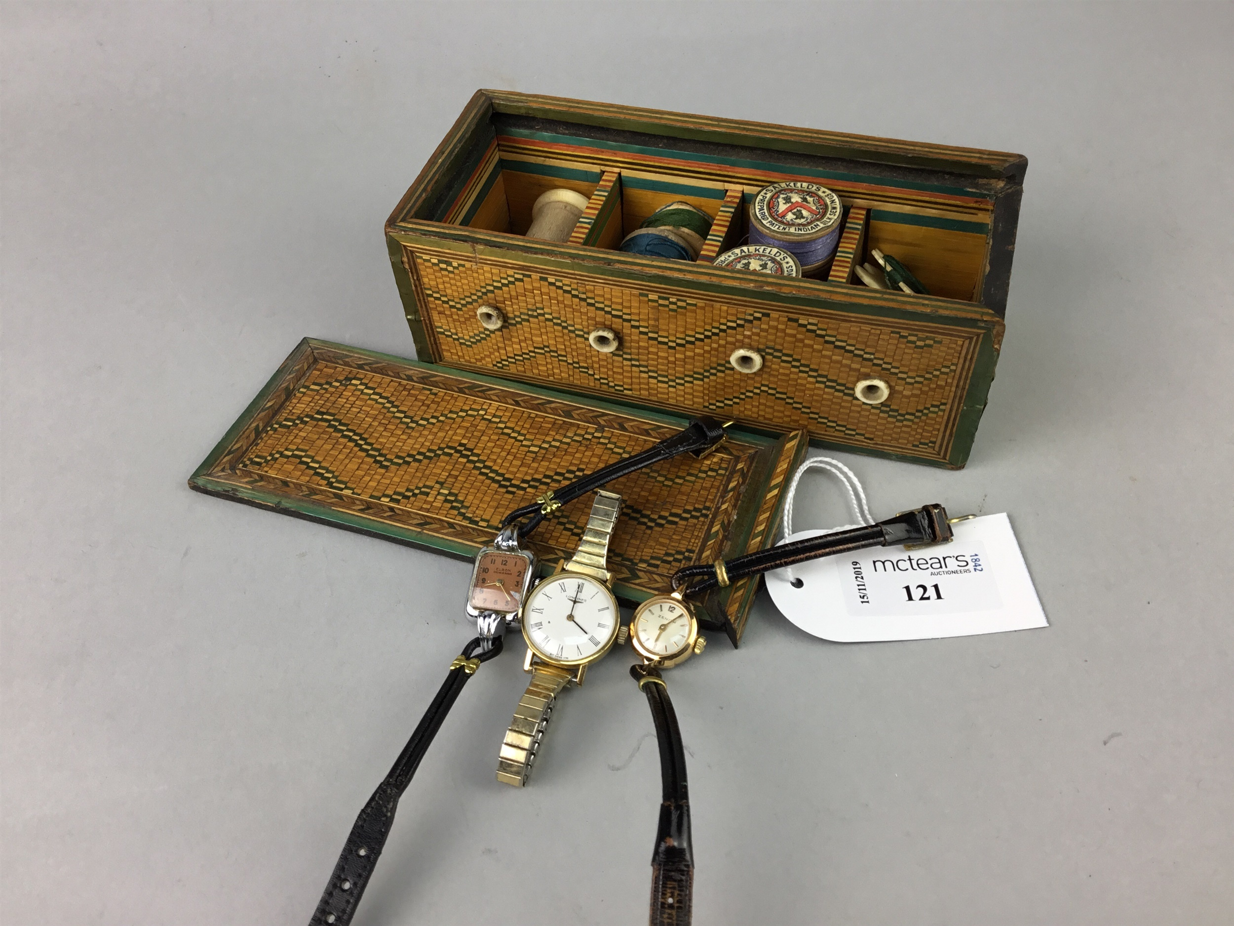 Lot 121 - A 19TH CENTURY STRING/THREAD BOX, THREE WATCHES AND OTHER BOXES