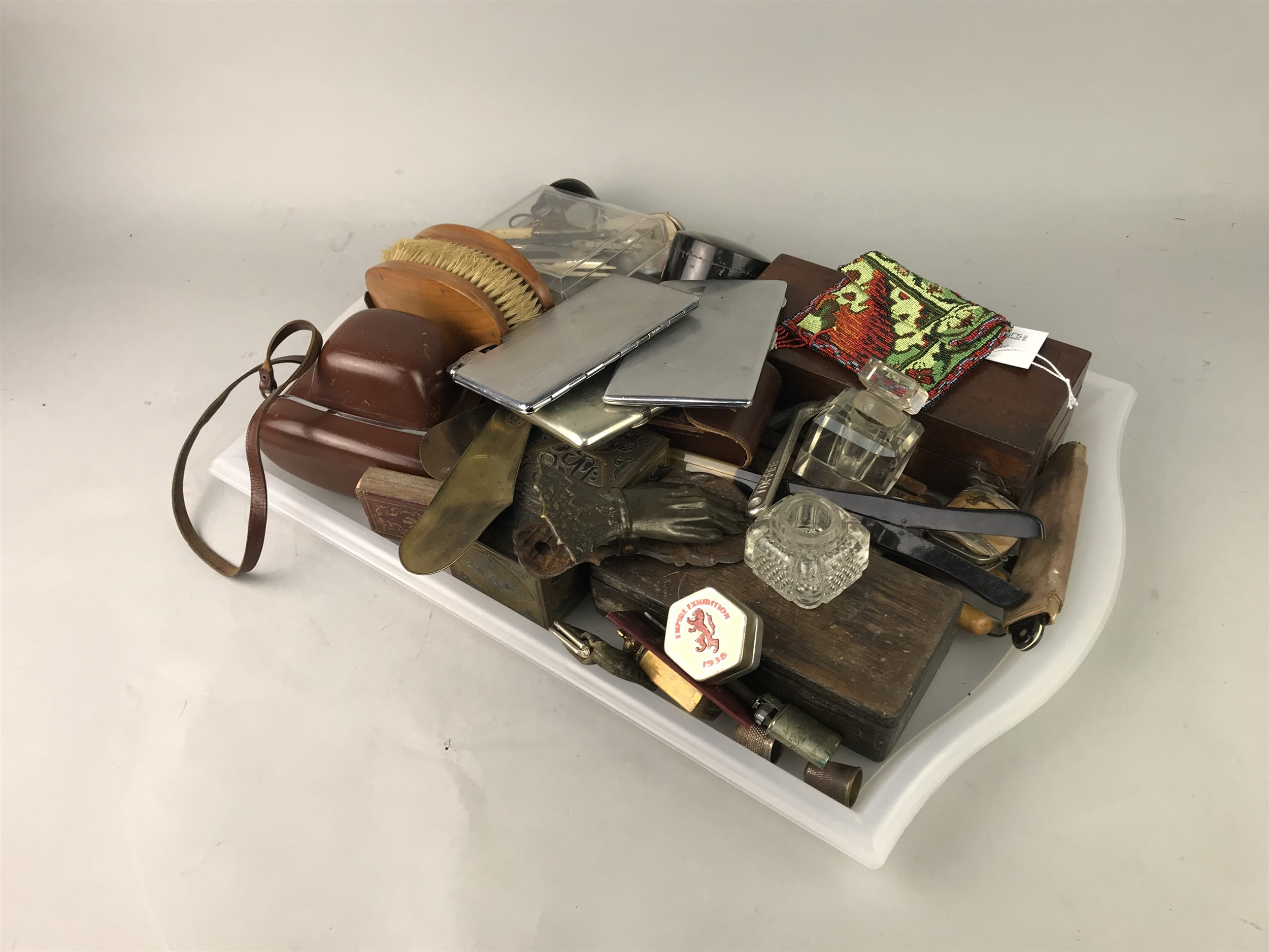 Lot 44 - A SYKES HYDROMETER, A CIGARETTE CASE AND OTHER VARIOUS ITEMS