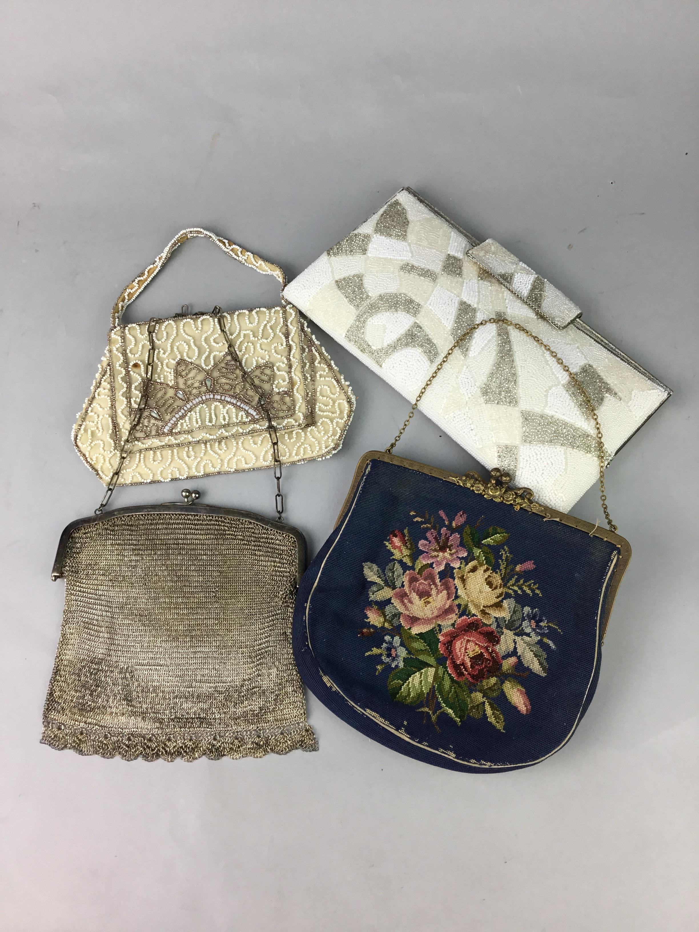Lot 120 - A SOUTH AMERICAN VINTAGE DESIGNER HANDBAG, OTHER BAGS AND TWO BLOUSES