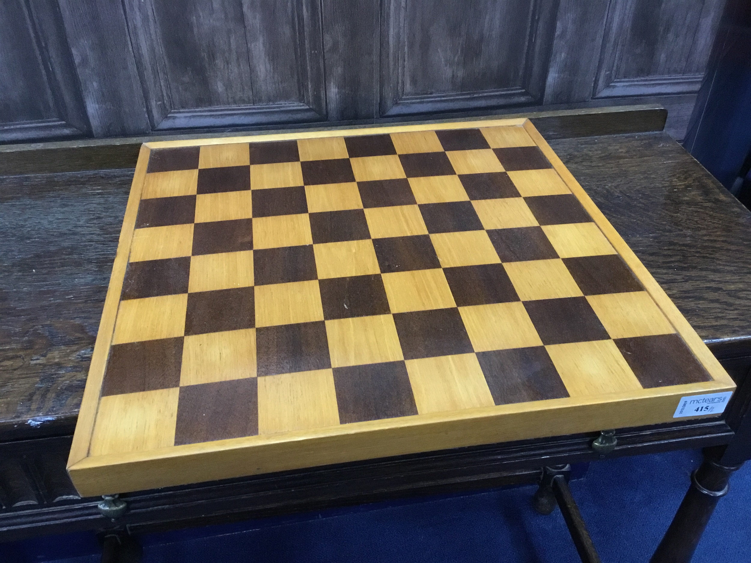 Lot 415 - A LOT OF TWO STAINED WOOD CHESS BOARDS