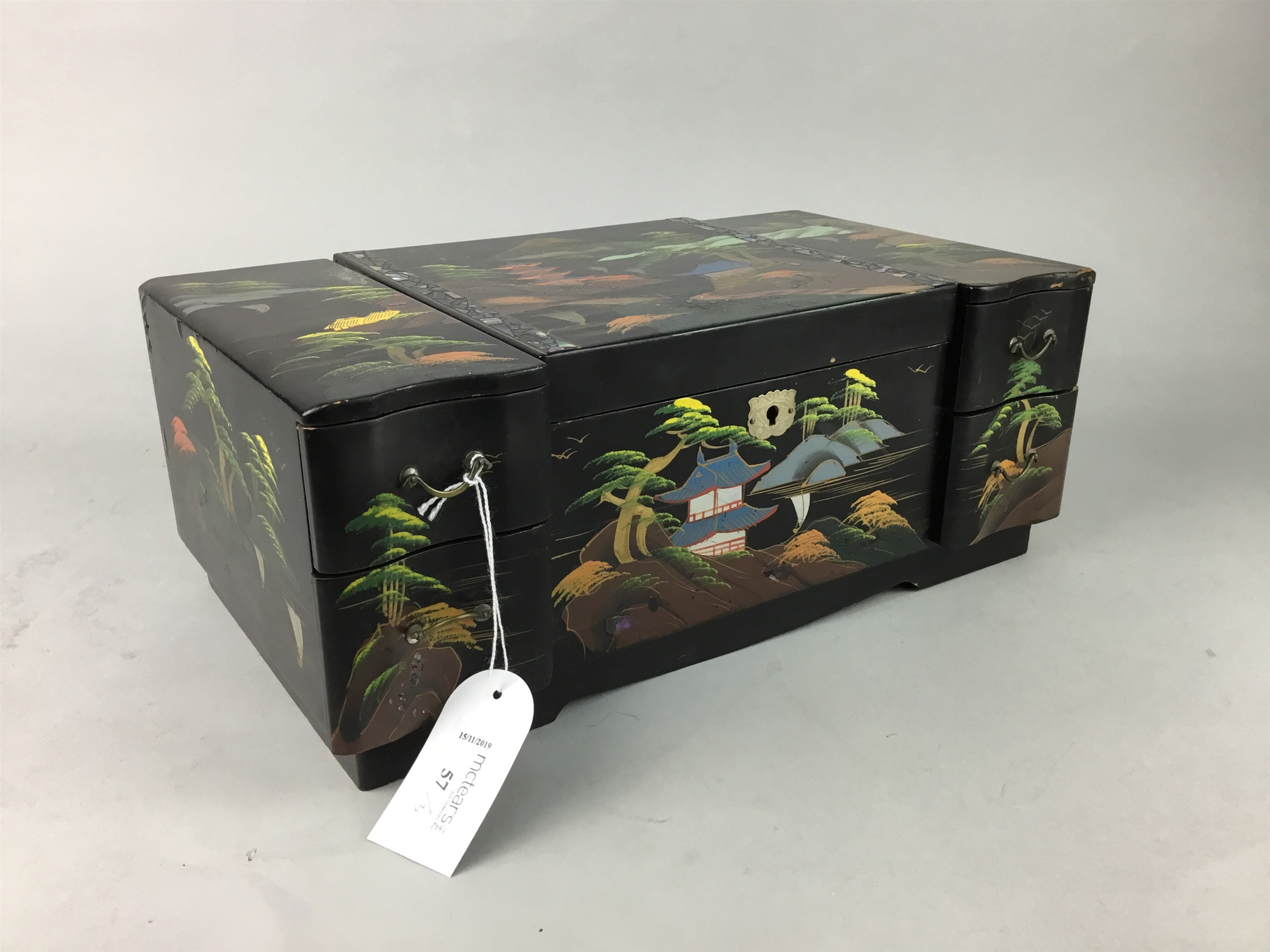 Lot 57 - A LACQUERED AND PAINTED JEWELLERY BOX AND TWO OTHER BOXES