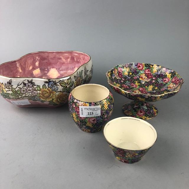 Lot 223 - A ROYAL WINTON 'HAZEL' PATTERN COMPORT, JAR AND BOWL TOGETHER WITH A MALING BOWL