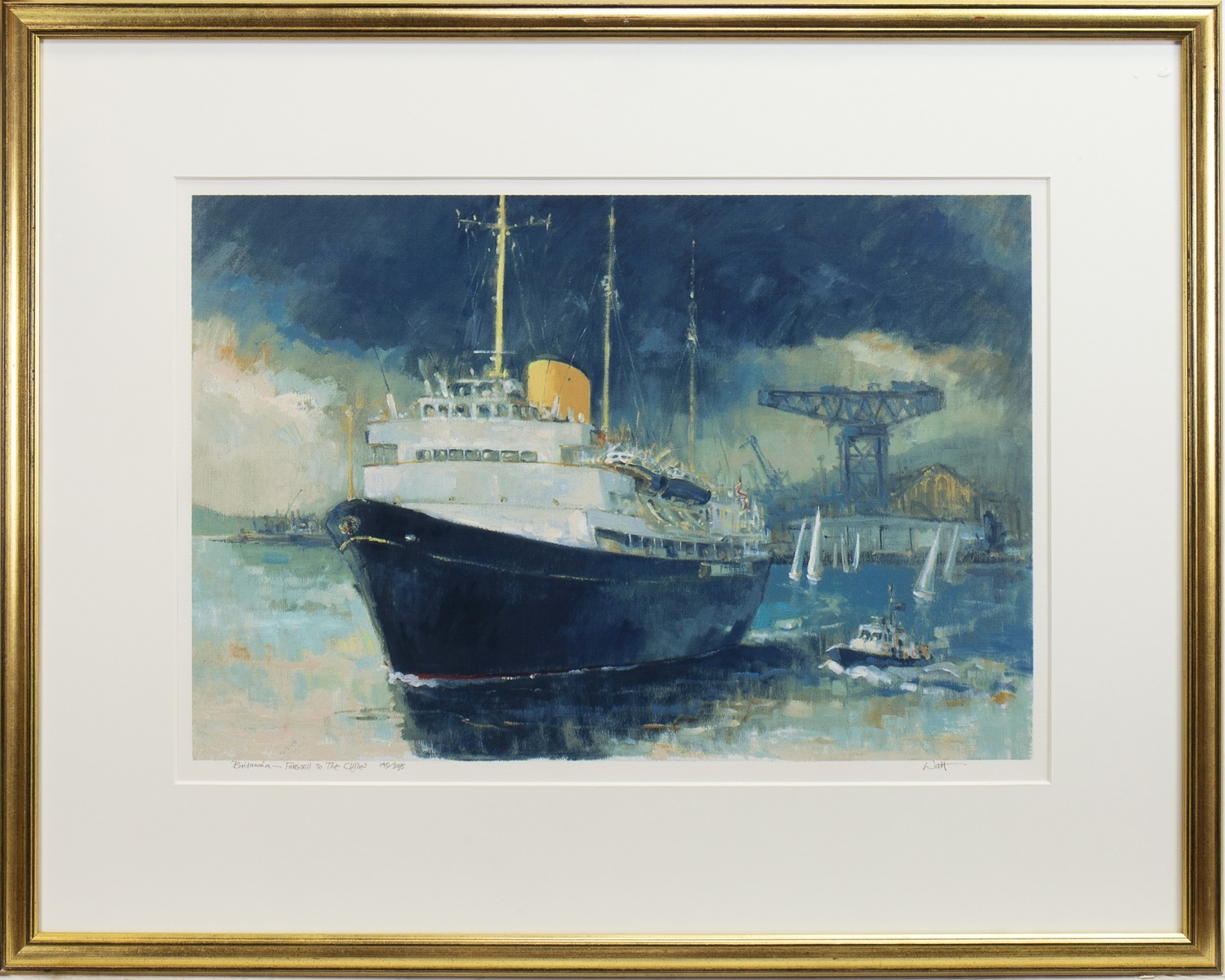 Lot 30 - BRITANNIA, FAREWELL TO THE CLYDE, A SIGNED LIMITED EDITION PRINT BY JAMES WATT