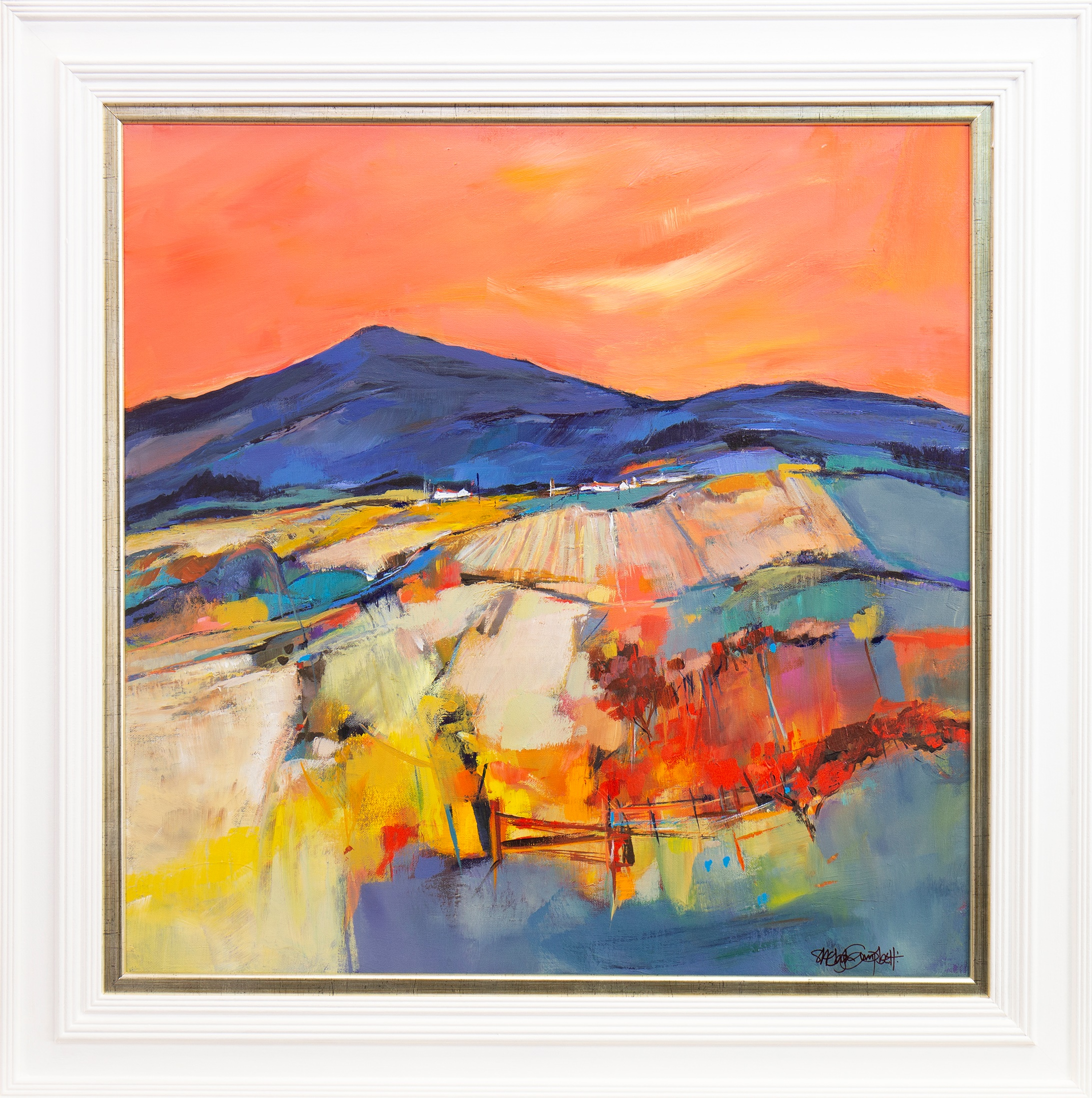 Lot 47 - MISTY LAW, SUNSET, AN ACRYLIC BY SHELAGH CAMPBELL