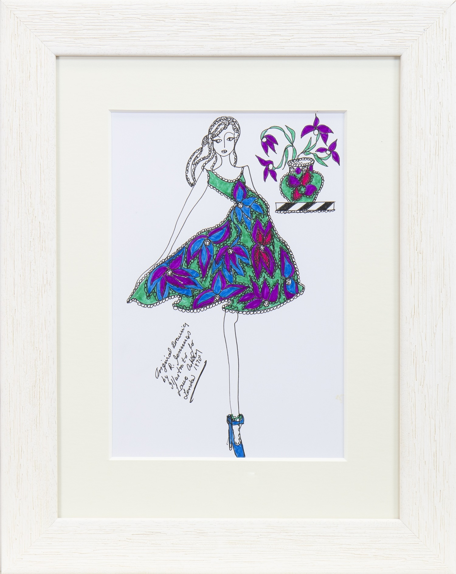Lot 36 - ORIGINAL ILLUSTRATION OF DESIGNS FOR LAURA ASHLEY, BY ROZ JENNINGS