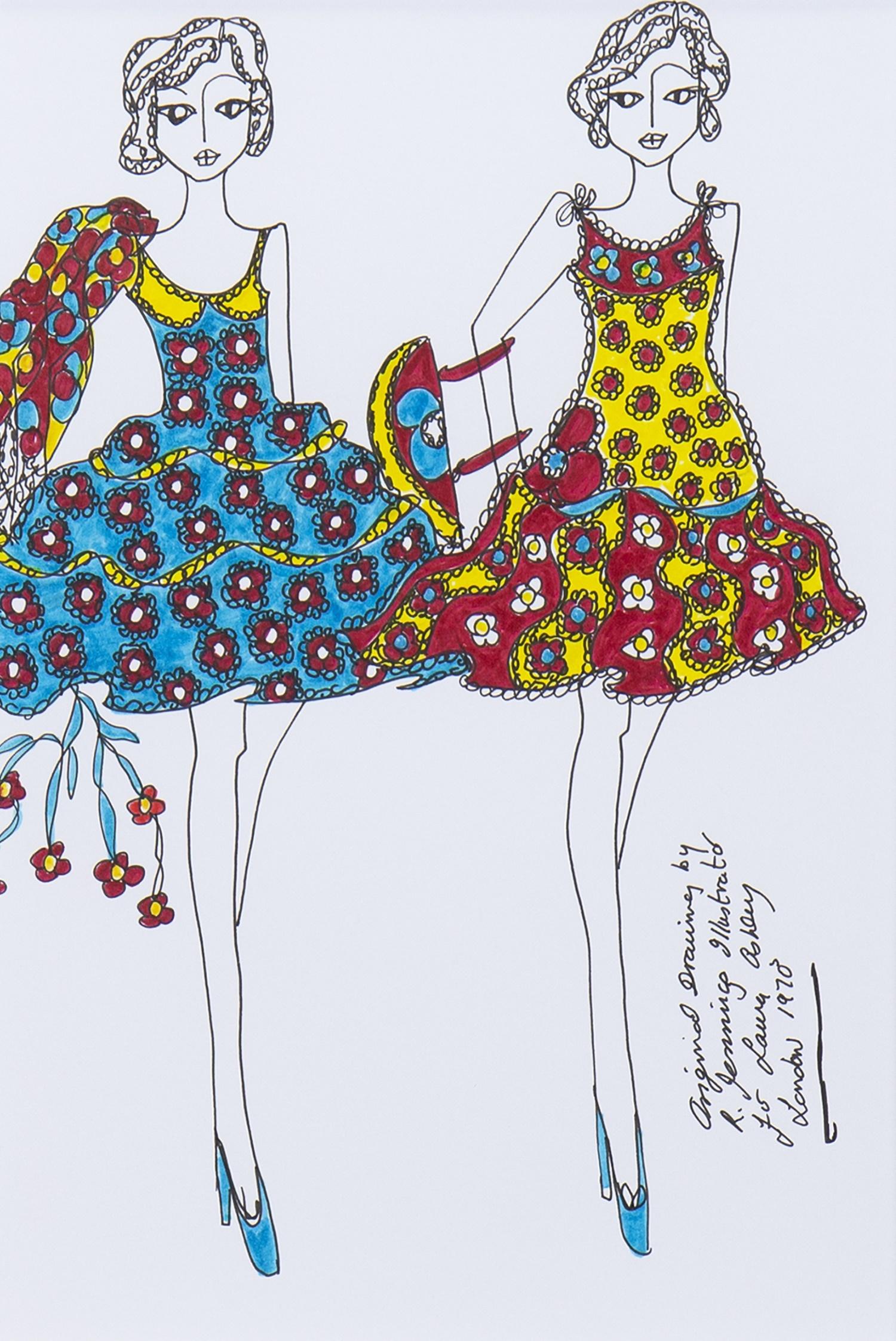 Lot 39 - ORIGINAL ILLUSTRATION OF DESIGNS FOR LAURA ASHLEY, BY ROZ JENNINGS