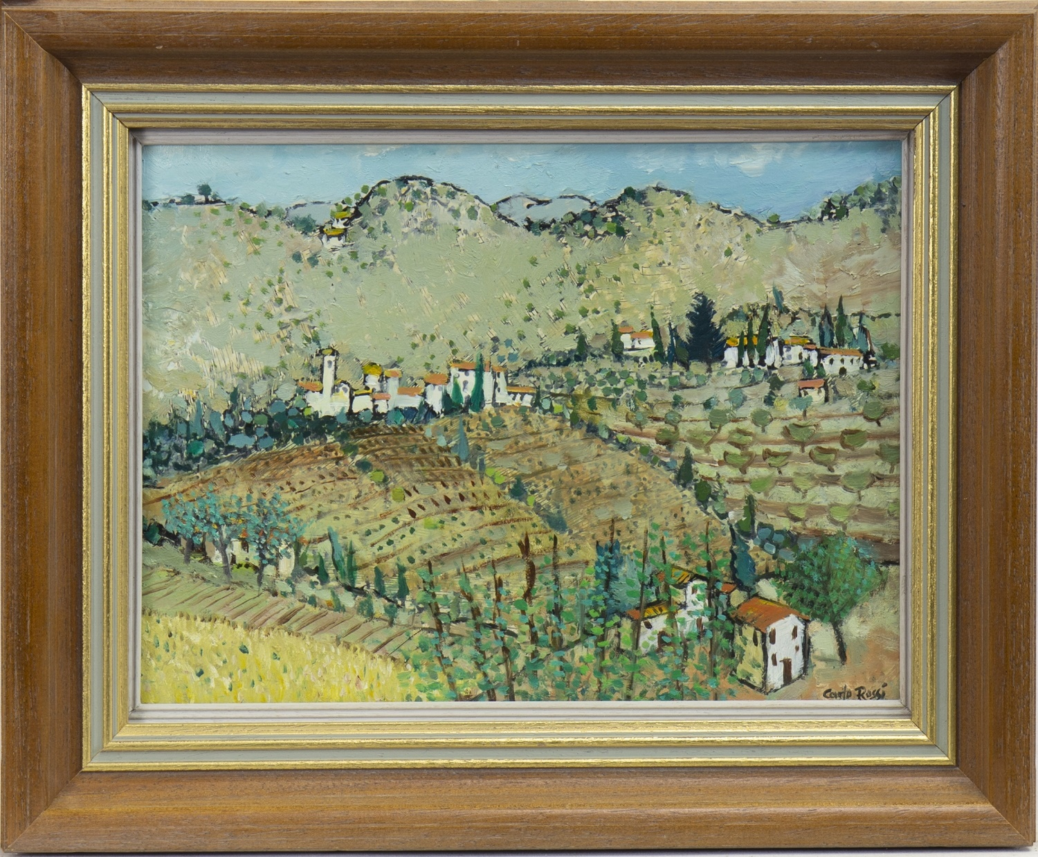 Lot 42 - TUSCAN LANDSCAPE, NEBBIANA, AN OIL BY CARLO ROSSI