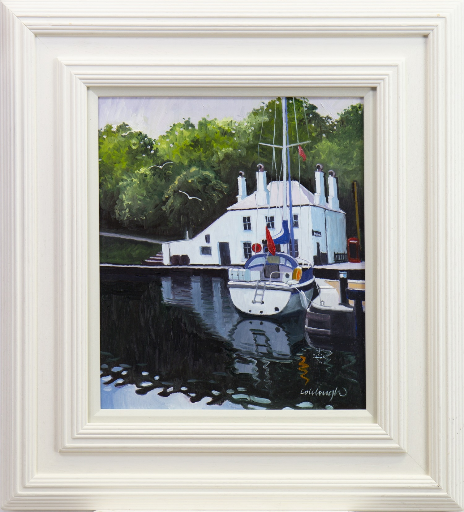 Lot 56 - CRINAN REFLECTIONS, AN OIL BY FRANK COLCLOUGH