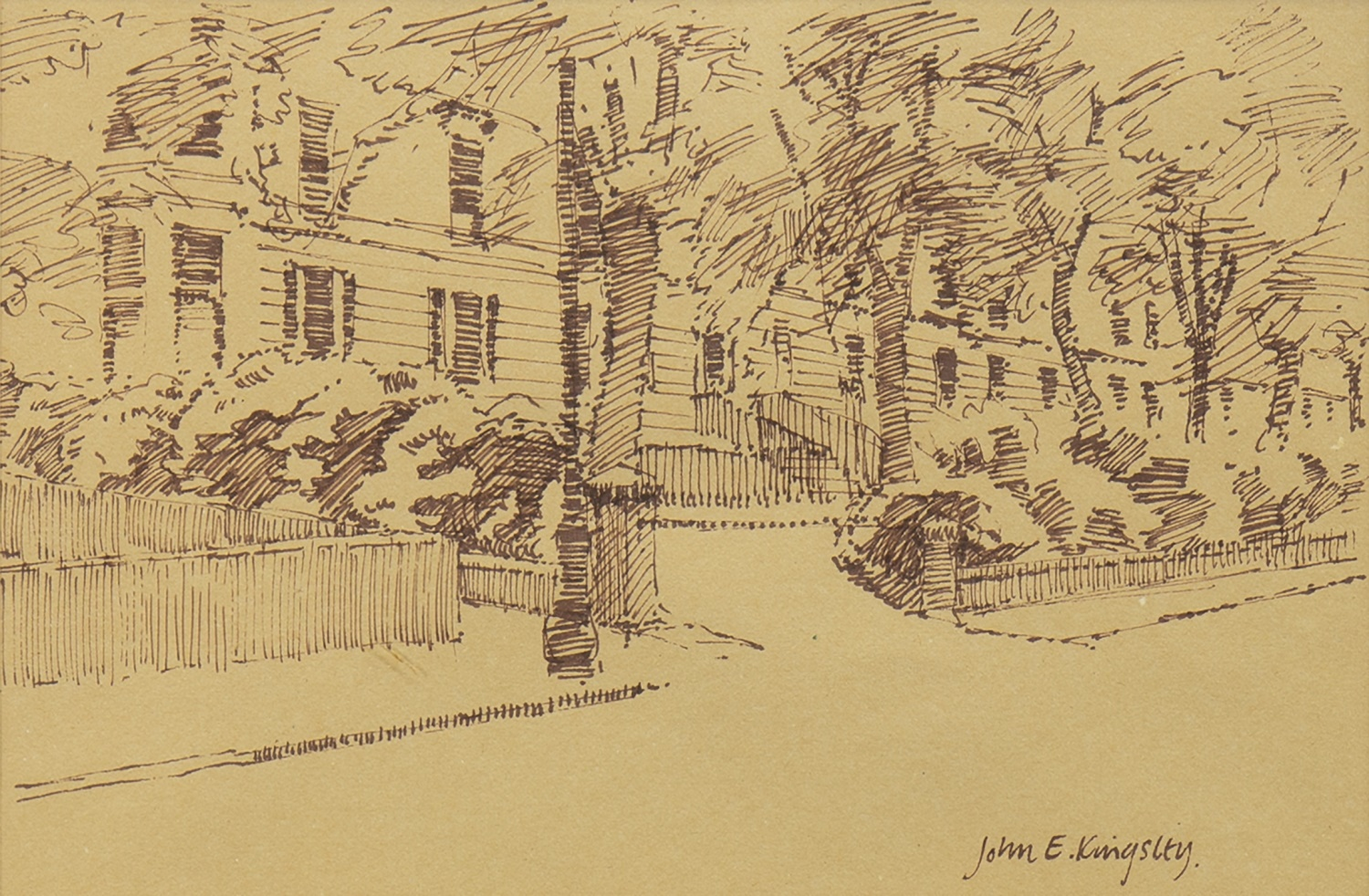 Lot 2 - CROW ROAD NORTH, GLASGOW, AN INK SKETCH BY JOHN KINGSLEY