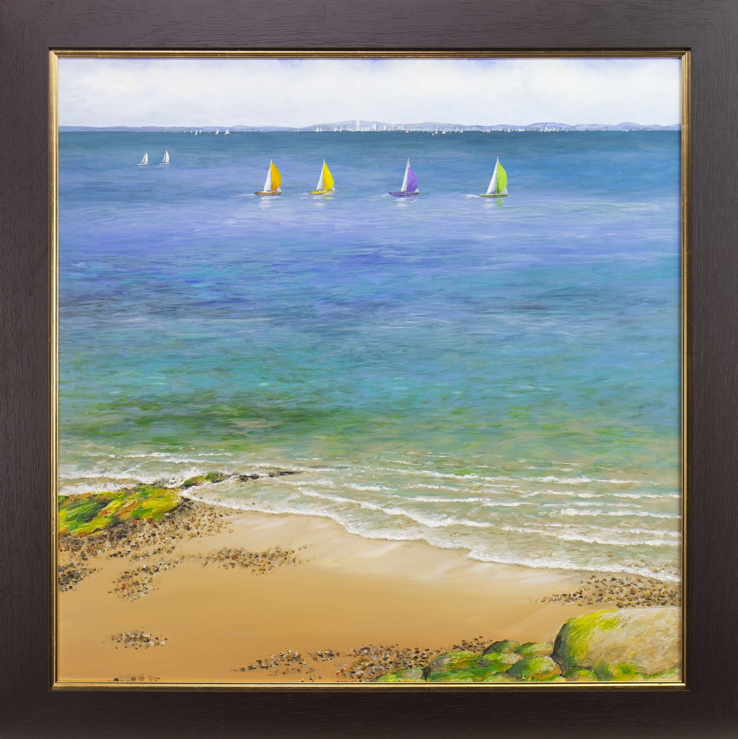 Lot 13 - SPINMAKERS UP ON A CALM DAY, AN OIL BY SANDRA FRANCIS