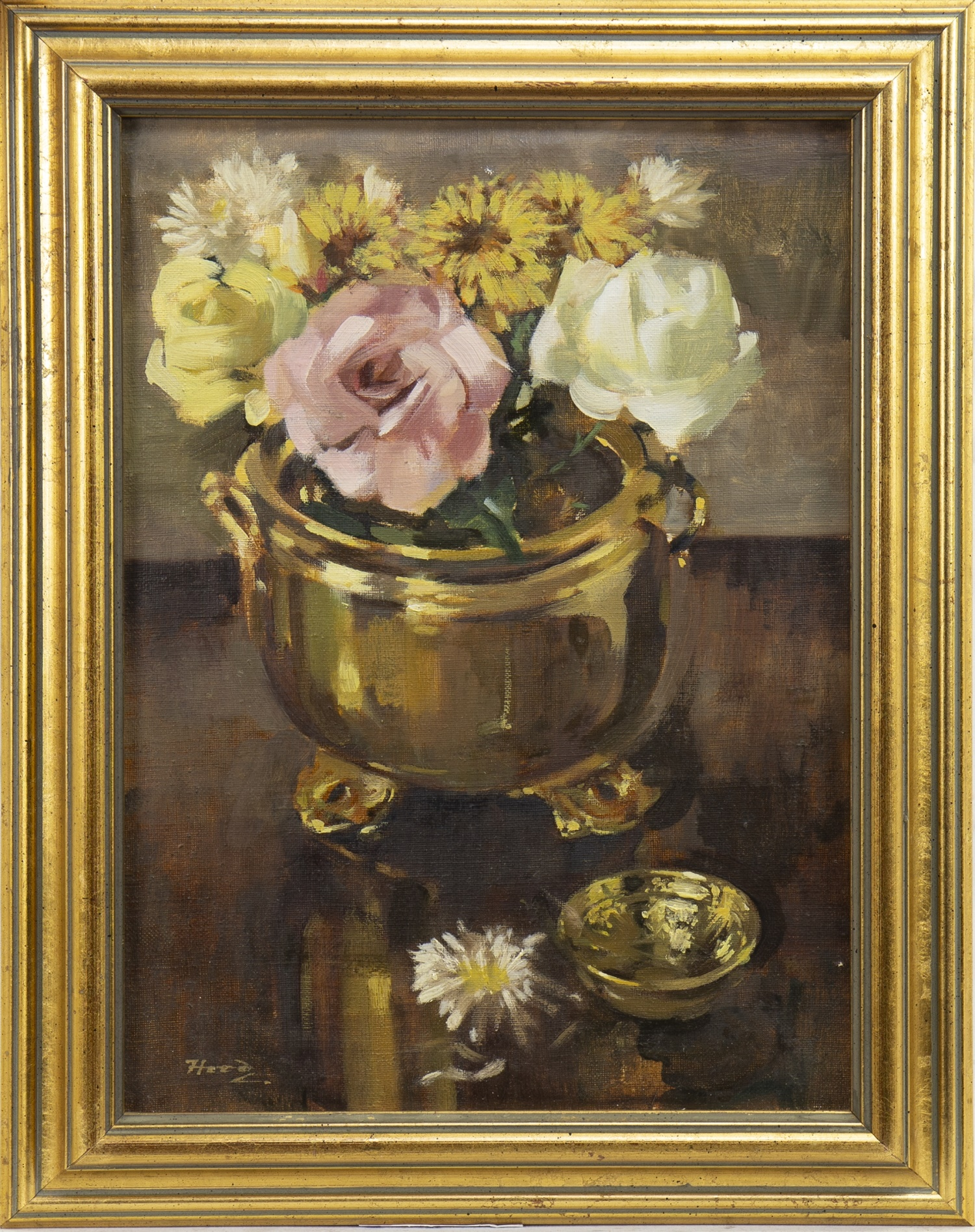 Lot 4 - ROSES AND CHRYSANTHEMUMS, AN OIL BY ERNEST HOOD