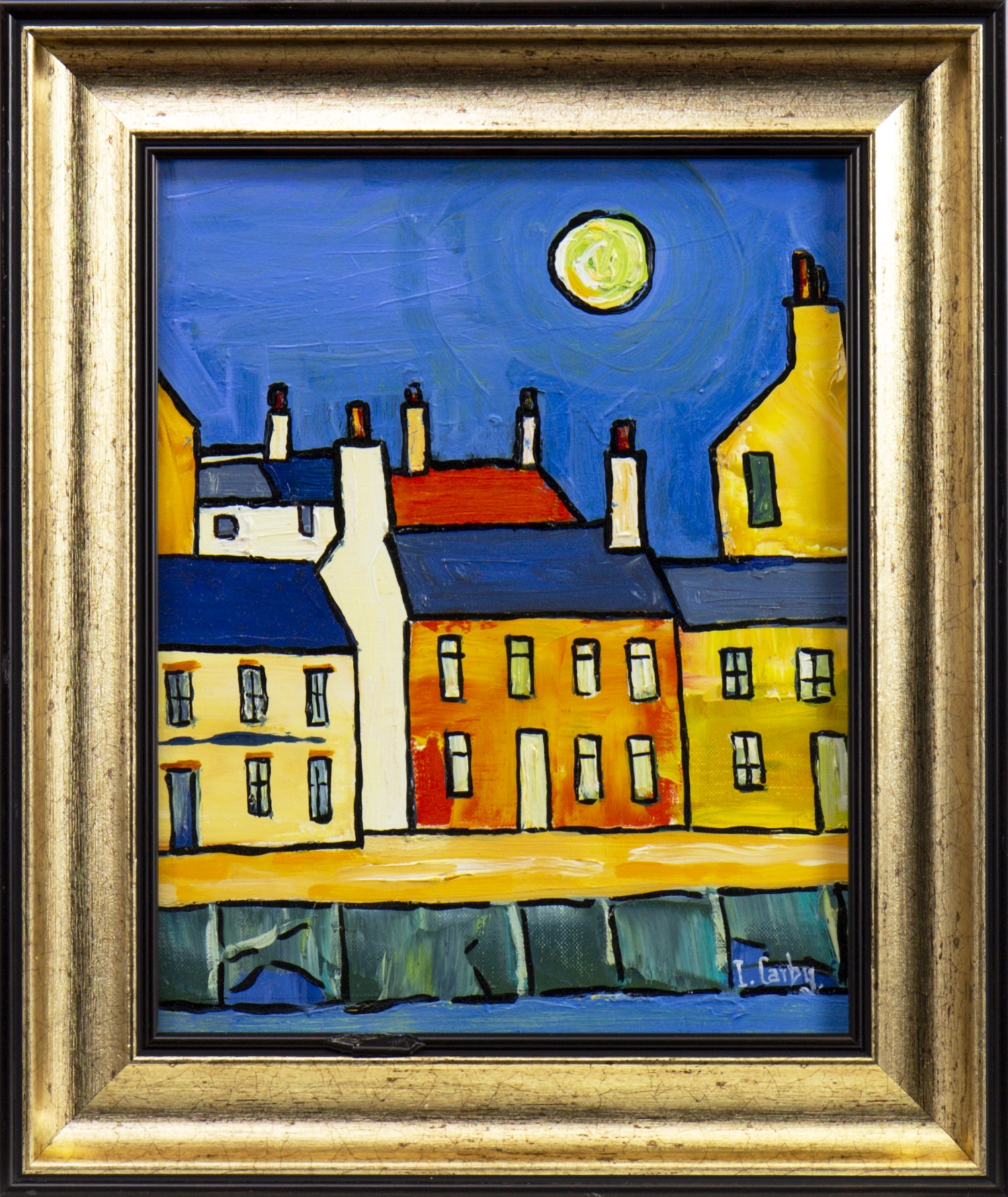 Lot 49 - PORT BANNATYNE IN MOONLIGHT, AN OIL BY IAIN CARBY