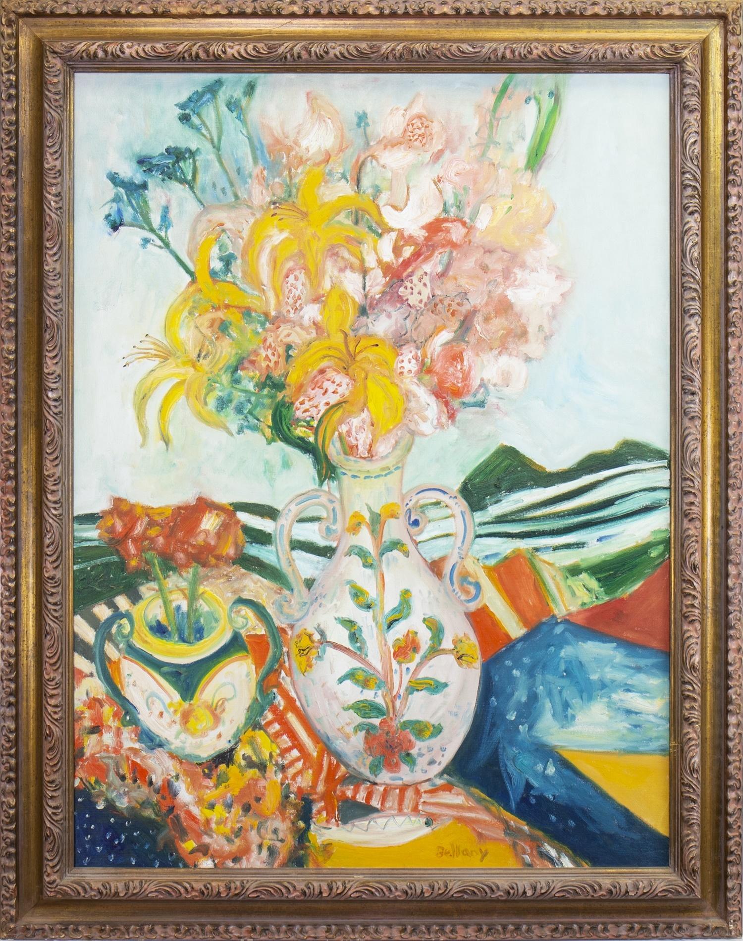Lot 8 - GARDEN FLOWERS, AN OIL BY JOHN BELLANY